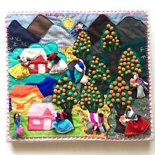 Naranjal Mexico Orange Orchard Farm Handmade Embroidery Fabric Textile Art