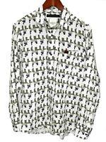 Marshall Artist Mens Medium M Long Sleeve Button Front Print Linen Shirt