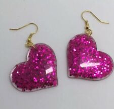 Hot Pink Large Heart Glitter Charms Acrylic Earrings D204 Kitsch Fun 5.5cm Long