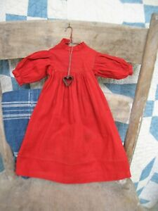 Small Antique Doll Dress Red Cotton Hand Sewn w Tiny Tin Heart Free Shipping