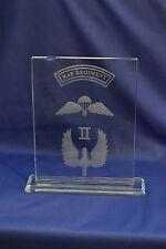 II Squadron RAF Regiment crystal Plaque Airborne Forces & LED light base