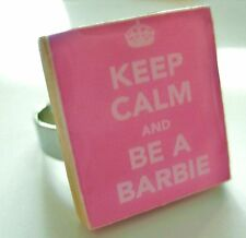 BARBIE RING  keep calm and be a barbie pink ring handmade unique barbie gift