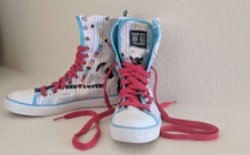 Harajuku Lovers High Top Sneakers Size 7 White & Multicolor With Charm