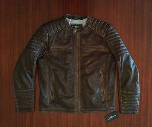 New Café Racer Super Soft Leather Jacket Dark Chocolate Brown Biker Men's L