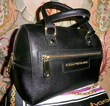 Authentic Juicy Couture Black Saffiano  Leather Studed Duffle Handbag Purse