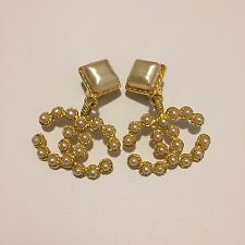 Rare Vintage Chanel Large Pearl CC Logo Gold Clip Earrings