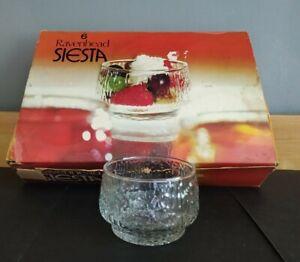 Vintage Set Of Bark Effect Raven Head Siesta Sundae Glasses , Desert Glassware