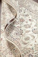 250 Knots Wool/Silk Floral WHITE Nain Area Rug Hand-Knotted Oriental Carpet 5x8