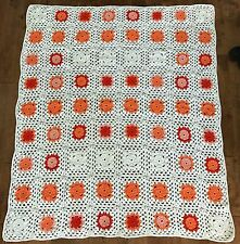 """Crocheted Granny Squares Afghan Throw Hand Made Peach White 61 x 71"""" Acrylic"""