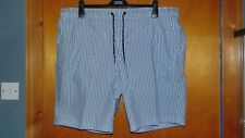 "M&S UPF50+ Part Elastic Waist Striped Swim Board Shorts XXL W42-44"" Blue BNWT"