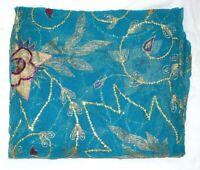 Vintage Dupatta Long Stole Chiffon Silk Blue Veil Hand Florel Beaded Scarves
