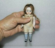 "ANTIQUE ALL BISQUE KESTNER  DOLL Brown Glass Eyes VTG 5 1/4"" GERMAN MIGNONETTE"