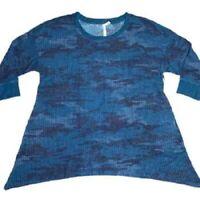 NWT Lularoe Cozy Kate waffle tunic top fabric blue camo print XL
