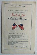 July 4th Celebration Program For The City Of Trenton , New Jersey 1946