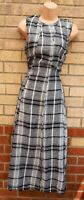 ZARA CHECK LINEN BLACK WHITE TARTAN SLEEVELESS A LINE MIDI SUMMER DRESS 6 XS