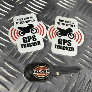 MOTORCYCLE GPS TRACKER anti theft SECURITY stickers decals x2