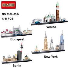 HSANHE City Street View Venice Berlin Nano Block Mini Diamond Building Toy 4pcs