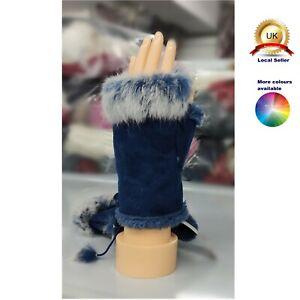 Faux Fur Fashion Finger-less Winter Mitten Woman Girl One-Size Boutique Glove