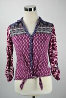 Lucky Brand Long Sleeve Paisley Purple Tie Front Cropped Boho Chic Festival Sz S
