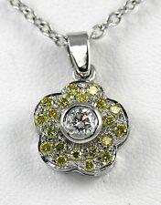 Diamond Flower Drop Pendant 14k YG w/ 0.23ct Fancy Yellow + 0.15ct White Diamond