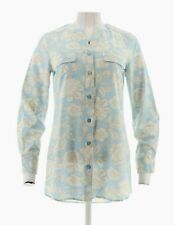 Denim & Co Floral Printed Y-Neck Button Front Tunic  Cool Blue Sz-2X NEW A273070