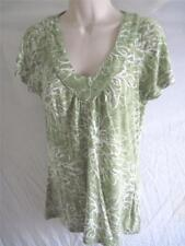 Regular Size XS Reitmans Canada  Print Knit Top Light Green White Short Sleeve