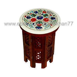 Round Small Coffee Table Tree of Life Design Marble Inlaid Pietra Dura End Table