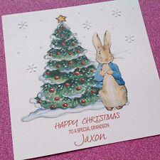 Personalised Handmade Peter Rabbit Paillettes Carte de Noël fille petit-fils Fils