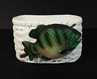 Vintage Napcoware 6101 Ceramic Fish Planter Fisherman Cabin Decor Succulents Pot