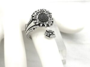 New Bohemian Sunflower Spoon Handle Ring Silver Plated Adjustable Women's