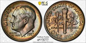 1987 D ROOSEVELT DIME 10C PCGS CERTIFIED MS 67 MINT STATE UNCIRCULATED (777)