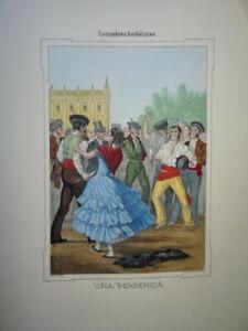 GRANDE LITHO COULEUR ANDALOUSIE COSTUME ANDALOUSE DANSE ESPAGNE SEVILLE 1854