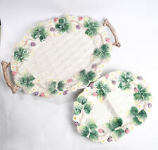 Set of 2 Vtg 1990 Fitz Floyd Woodland Berries Leaves Floral Tray Divided Plate