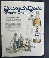 1921 Clicquot Club ginger ale bottle Eskimo boy they all like it vintage ad
