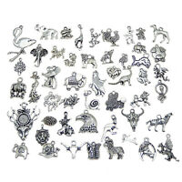 Lot of 20 Vintage Silver Alloy Animals Charms Pendants Mixed DIY Craft Findings