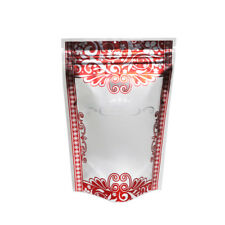 "100 Matte Ziplock Stand-Up Bags w/Red & Silver Boarder Design 10x15cm (3.9x5.9"")"