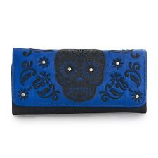 Loungefly Blue Black Laser Cut Sugar Skull Tri Fold Wallet