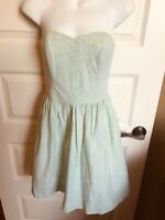 lily pulitzer Strapless Dress Green White Size 0 Stripe Lined Boning Seersucker