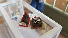 2 x fancy cakes on cakeboards 1:12th scale dolls house bakery shop miniature UK