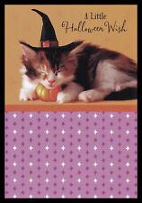1053-MSA Cat Kitten Halloween Glitter Greeting Card NEW