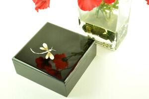 Decorative Handmade Lacquered Inlaid Wooden Square Box, Black Small H021S