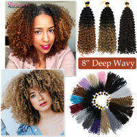 Curly Crochet Braids Hair 8inch Water Wave Mali Bob Crochet Hair Extensions 3pcs