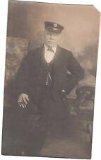 VINTAGE POSTCARD GENT UNIFORM CAP SMOKING CIGAR SOCIAL HISTORY STATION MASTER RP