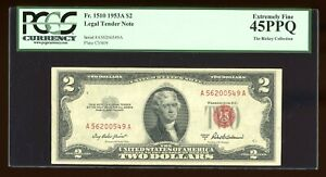 DBR 1953-A $2 Legal Fr. 1510 PCGS 45 PPQ Serial A56200549A