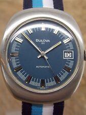 Vintage 1970s Blue dial Bulova Sea King 30 Jewel micro rotor automatic watch