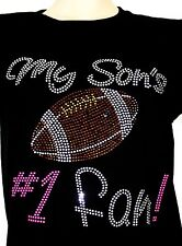 MY SON S #1 FAN FOOTBALL MOM RhinestONES Iron on Transfer Hot Fix  NO SHIRT
