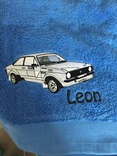 Personalised Embroidered 100% Cotton Mk II Ford Escort Car Hand Bath Towel Gift