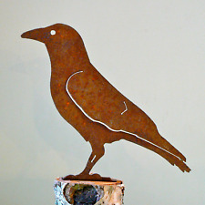 Rusty Metal Crow Silhouette Accent for Inside or Out,  Porch, Fence, Mailbox
