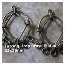 Dangle Earring Findings 3 pair Beautiful Brass Plated Basket Weave