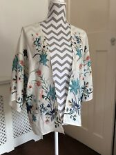 Topshop Ivory and Pink Floral Oriental Print Kimono, UK Size 10 Immaculate